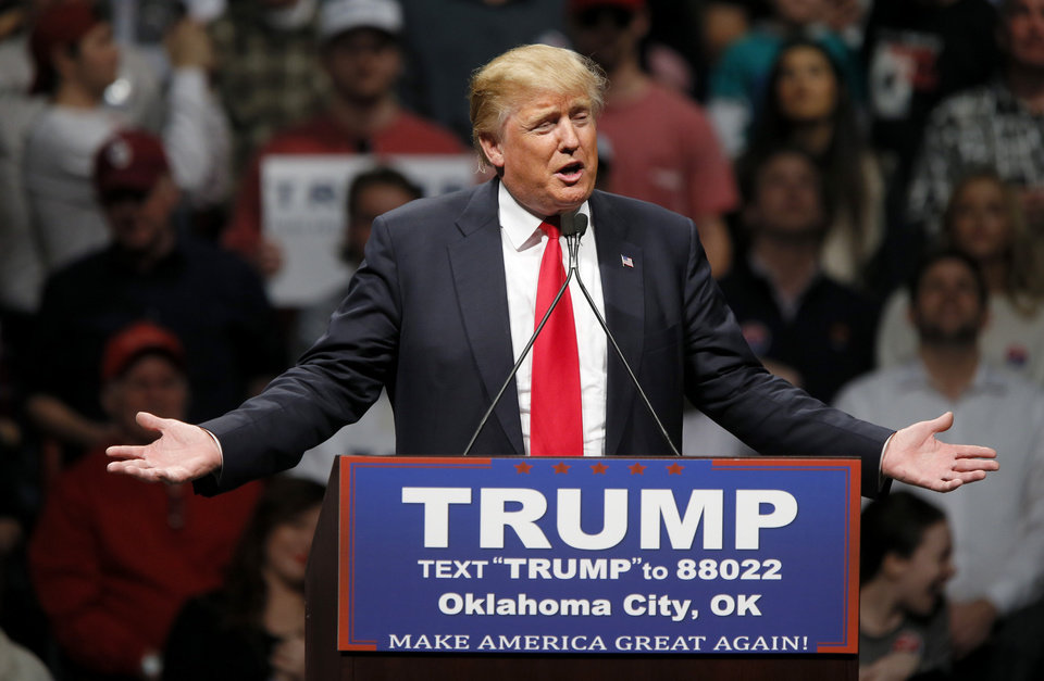 Photo - Republican presidential candidate Donald Trump speaks during a rally at the Cox Convention Center in Oklahoma City, Friday, Feb. 26, 2016. Photo by Bryan Terry, The Oklahoman
