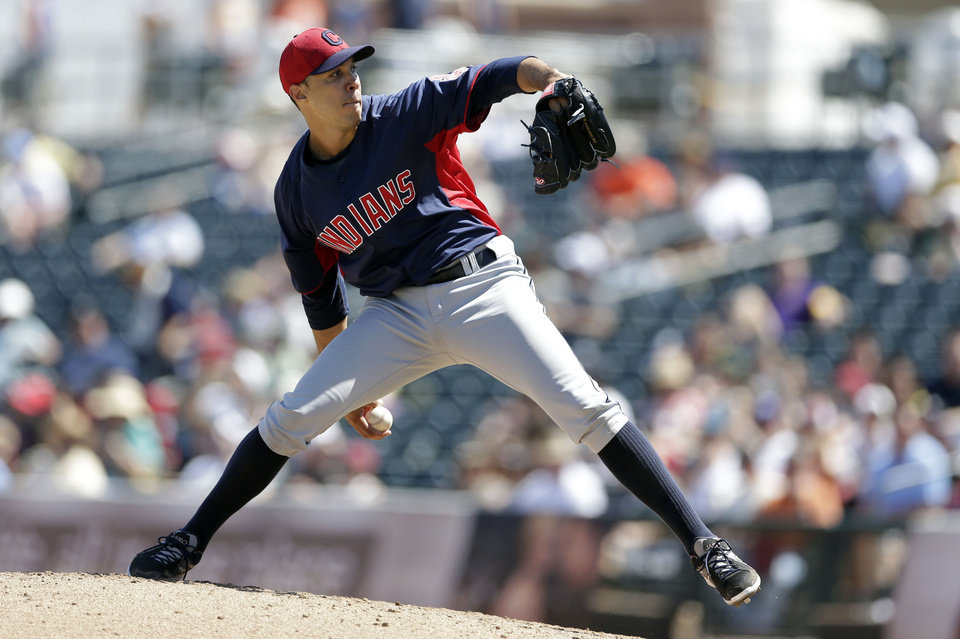 Cleveland Indians starting pitcher Ubaldo Jimenez throws against the Kansas City Royals during the third inning in an exhibition spring training baseball game on Friday, March 29, 2013, in Surprise, Ariz. (AP Photo/Gregory Bull)