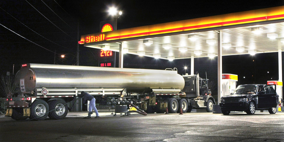 In this photo taken Nov. 20, 2009, a tanker truck makes a fuel delivery at a Little Rock, Ark., gas station. Retail gasoline prices headed downward to begin one of the country\'s busiest travel weeks, with more than 33 million people expected to hit the road for the Thanksgiving holiday. AP Photo Danny Johnston - AP