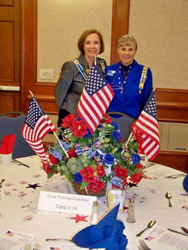 Photo - GEORGE WASHINGTON LUNCHEON...Diane Hamill and Quembe Walkingstick were at the DAR luncheon held at Gaylord Center, Oklahoma Christian University. (Photo provided).