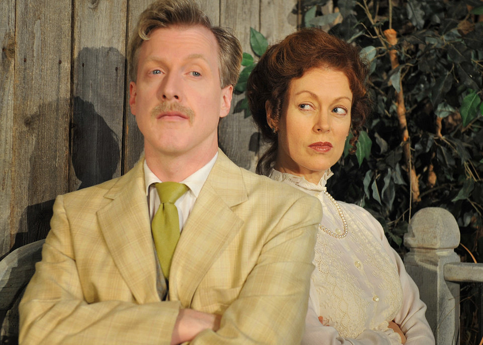 Photo - From left, Lane Fields stars as Benedick and Stacey Logan as Beatrice in Shakespeare's