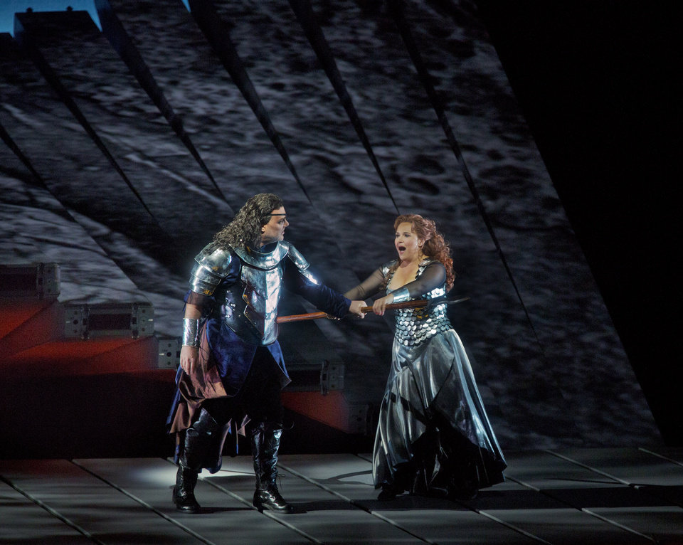 """Photo -   This April 28, 2012 photo provided by the Metropolitan Opera shows Bryn Terfel as Wotan and Katarina Dalayman as Brunnhilde in a performance of Wagner's """"Die Walkure."""" On May 12 the Met concludes the last of three complete presentations of Robert Lepage's production of the four-opera Ring Cycle, which includes Das Rheingold; Die Walkure; Siegfried and Gotterdammerung. (AP Photo/The Metropolitan Opera, Ken Howard)"""