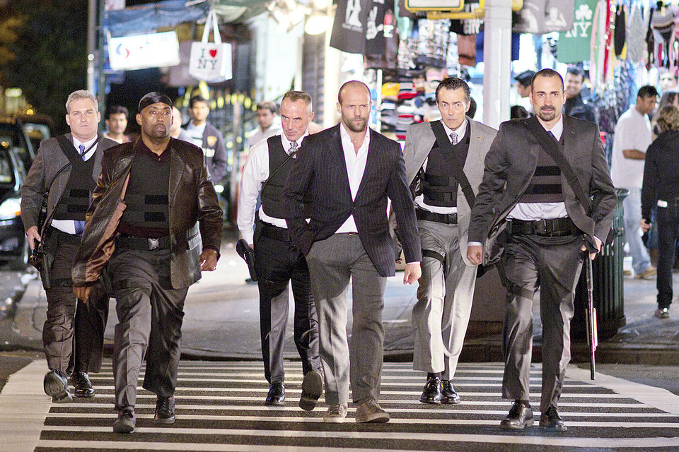 Photo - from left, James Colby, portraying Detective Mears, Barry Bradford, portraying Detective Benoit, Robert John Burke, portraying Captain Wolf, Jason Statham, portraying Luke Wright, Matt O'Toole, portraying Detective Lasky and Jay Giannone, portraying Detective Kolfax, are shown in a scene from