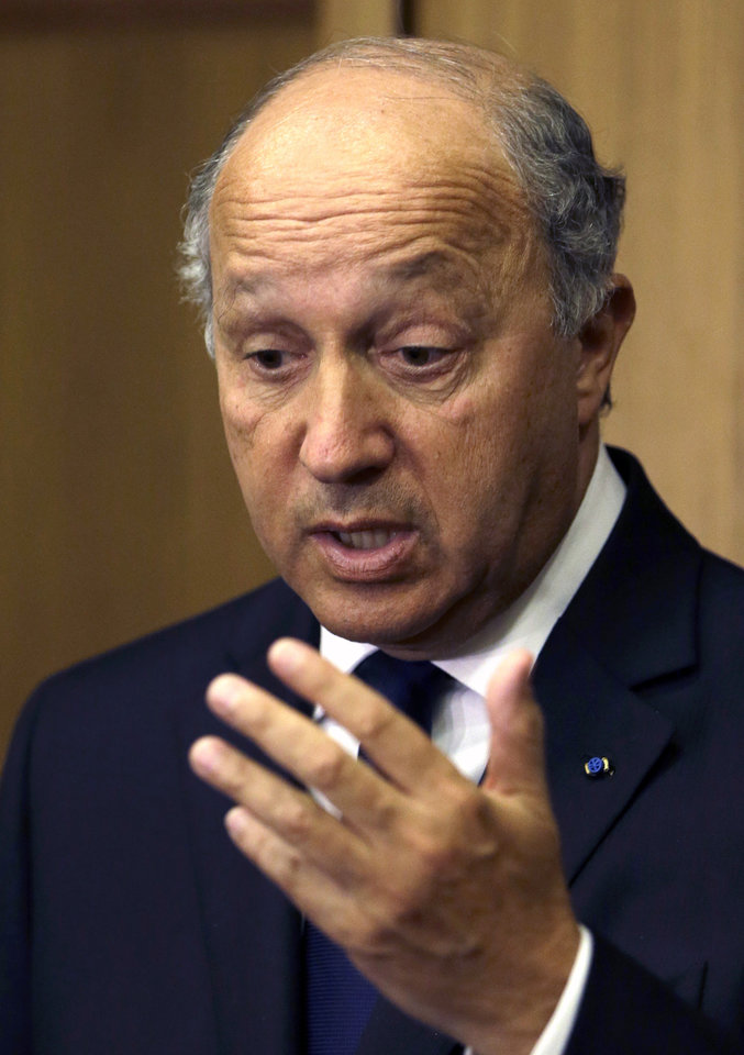 Photo -   French Foreign Minister Laurent Fabius speaks during a press conference at Rafik Hariri International Airport, Friday Aug. 17, 2012. Fabius, who visited Syria's neighbors Jordan and Lebanon this week, told France's Europe-1 radio Friday that he was told