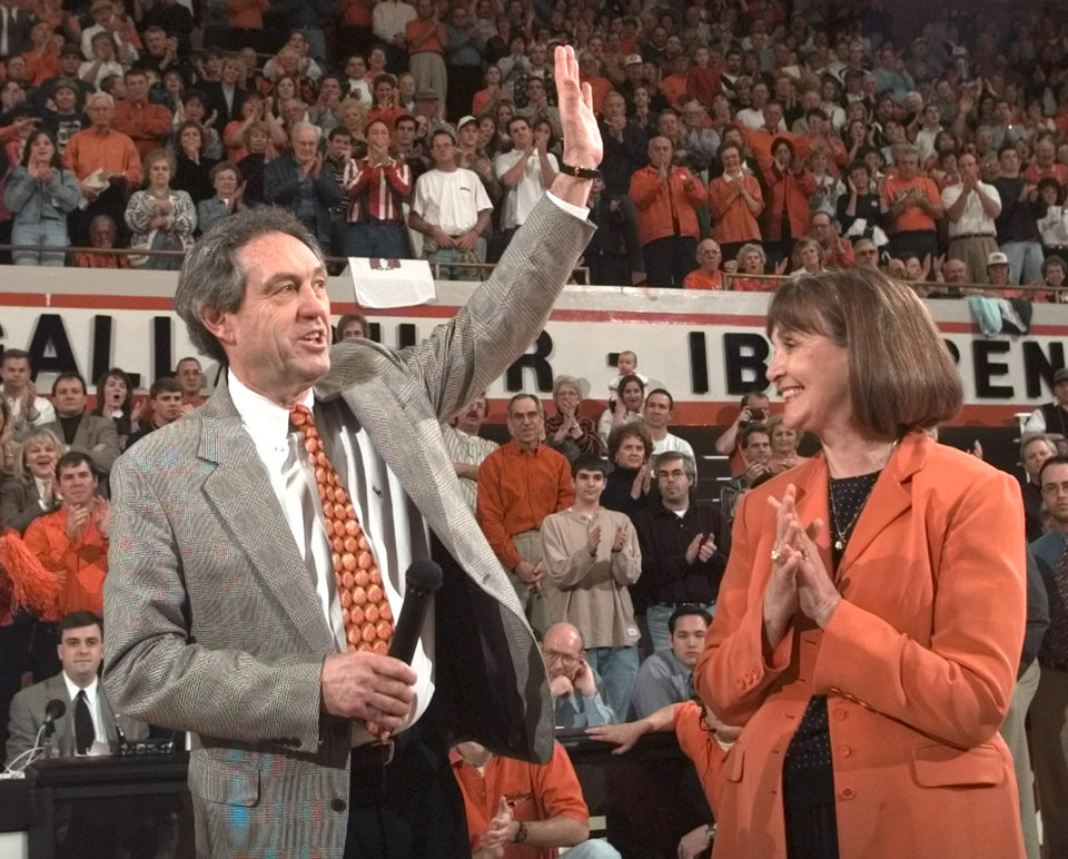 OSU basketball coach Eddie Sutton with his wife Patsy Sutton after game, during ceremony in celebration of him winning his career 600th game.