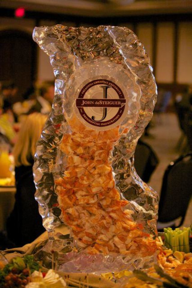 An Ice sculpture filled with shrimp for the brunch. (Photo provided).
