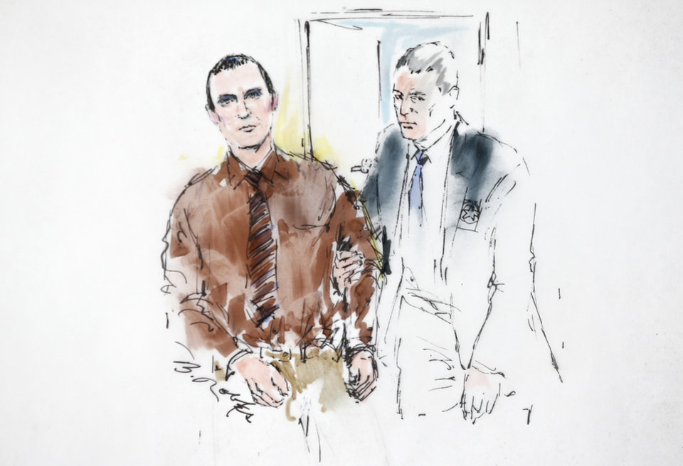 Photo -   In this courtroom sketch, Jared Loughner is lead into the courtroom by a U.S. Marshal prior to sentencing in U.S. District Court Thursday, Nov. 8, 2012, in Tucson, Ariz. U.S. District Judge Larry Burns sentenced Loughner, 24, to life in prison, for the January 2011 attack that left six people dead and Giffords and others wounded. Loughner pleaded guilty to federal charges under an agreement that guarantees he will spend the rest of his life in prison without the possibility of parole. (AP Photo/Bill Robles)