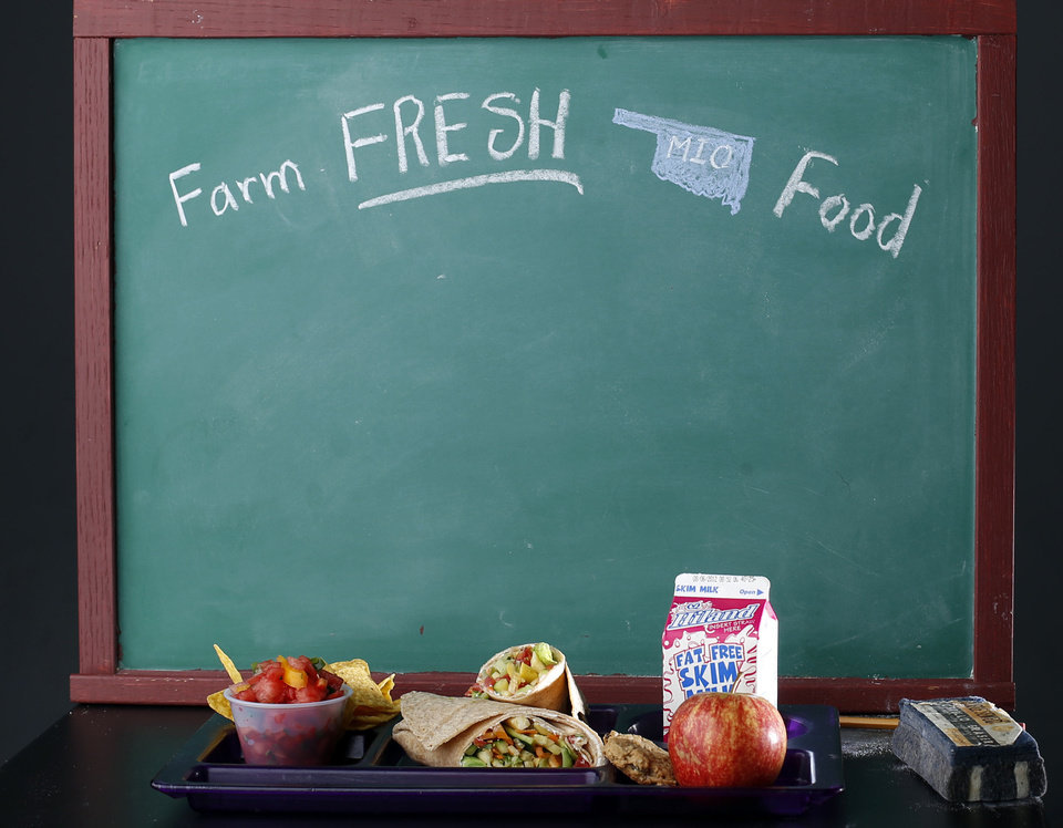 FARM TO FRESH / CHALKBOARD: School lunches are pictured at the OPUBCO studio in Oklahoma City, Tuesday, July 31, 2012. Photo by Sarah Phipps, The Oklahoman.