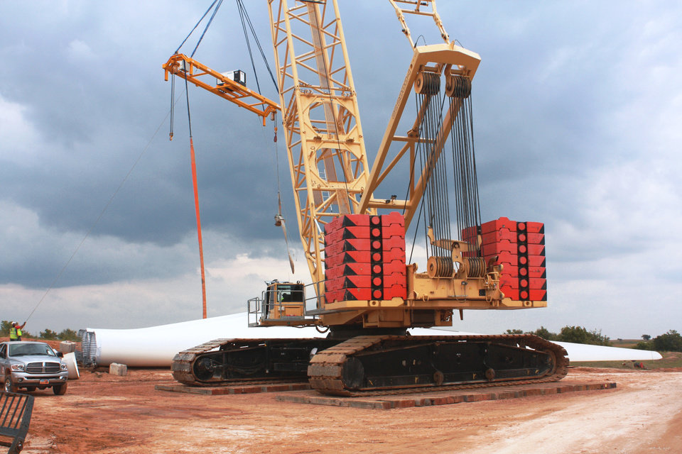 Photo - Construction continues on the OU Spirit wind farm near Woodward. Photo provided