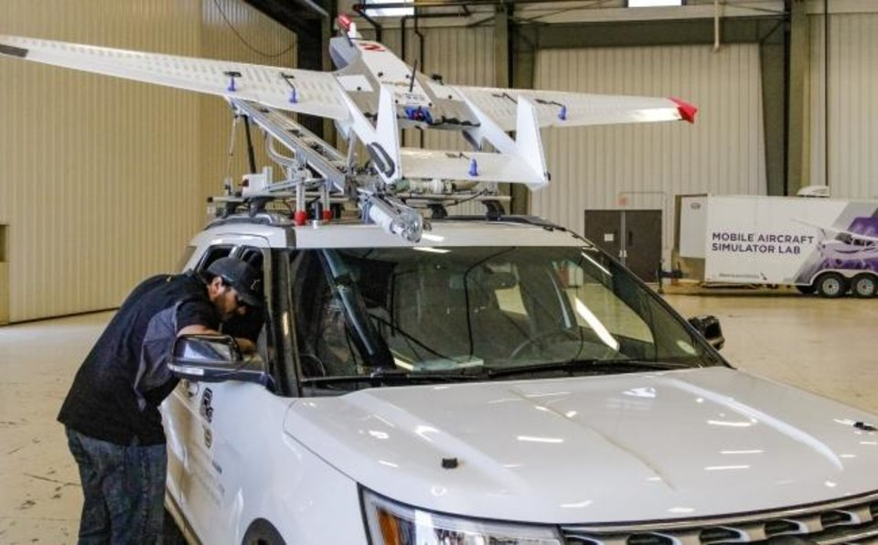 Photo -  Along with mobile Doppler Radar and other research platforms, the TORUS project will launch drones into severe storms that form over the Great Plains. The unmanned aerial vehicles will be launched from trucks and controlled from the ground. [DALE DENWALT/THE OKLAHOMAN]