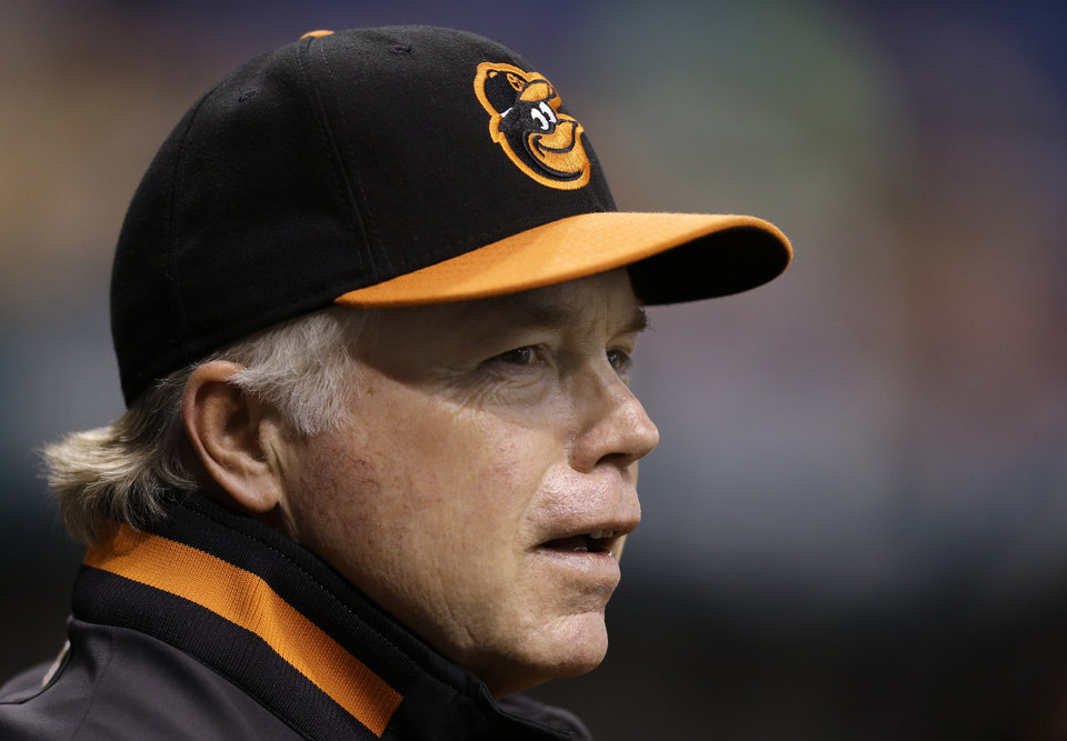 Photo -   Baltimore Orioles manager Buck Showalter looks out of the dugout during the first inning of the Orioles' baseball game against the Tampa Bay Rays on Wednesday, Oct. 3, 2012, in St. Petersburg, Fla. (AP Photo/Chris O'Meara)