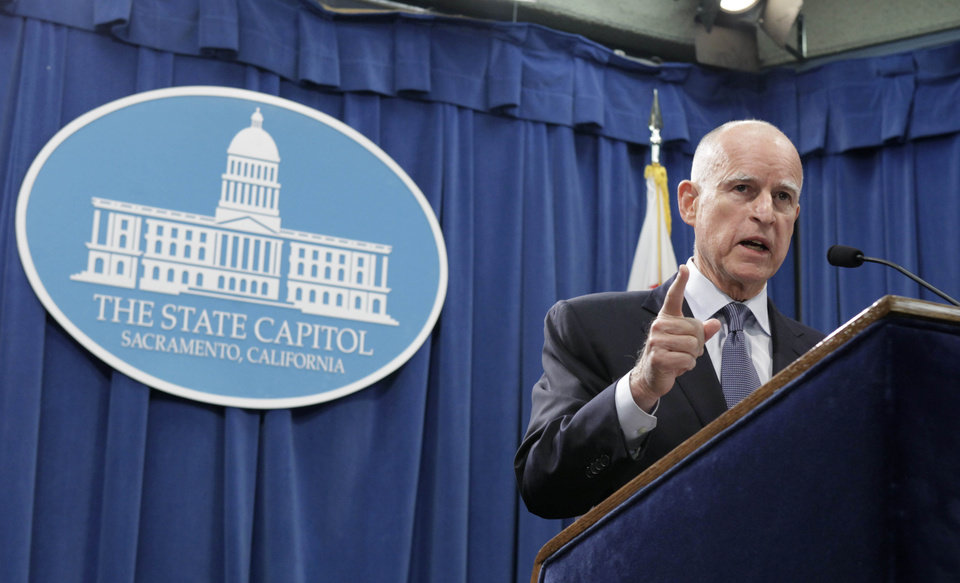 Gov. Jerry Brown discusses the passage of his tax initiative, Proposition 30 in Tuesday\'s election during a Capitol news conference in Sacramento, Calif., Wednesday, Nov. 7, 2012. Brown called the voter approved measure, that will place a temporary increase on the state sales tax and on the wealthy with the proceeds earmarked for education, A