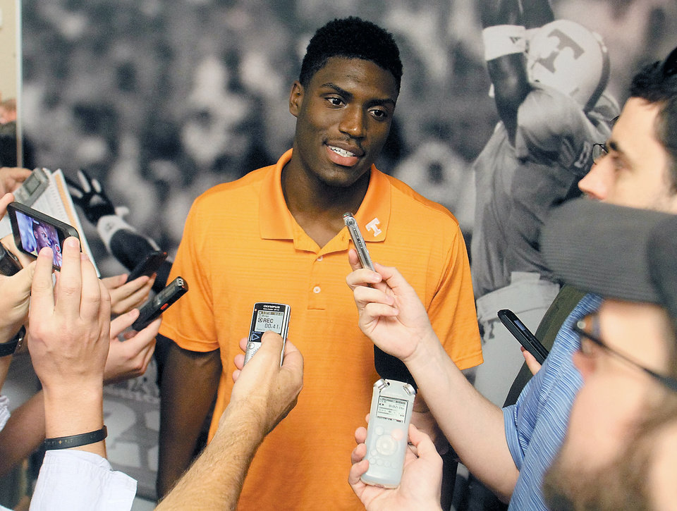 Photo - University of Tennessee football wide receiver Marquez North answers questions at Neyland Stadium at the University of Tennessee Football Media Day Thursday, July 31, 2014 in Knoxville, Tenn. (AP Photo/The Daily Times, Tom Sherlin)