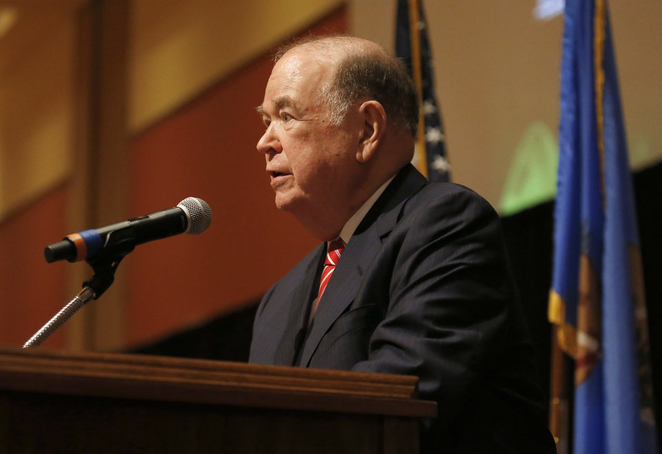 Photo - President David L. Boren speaks during a dinner and reception honoring David and Molly Shi Boren in Norman, Okla., Friday, April 20, 2018. Photo by Sarah Phipps, The Oklahoman
