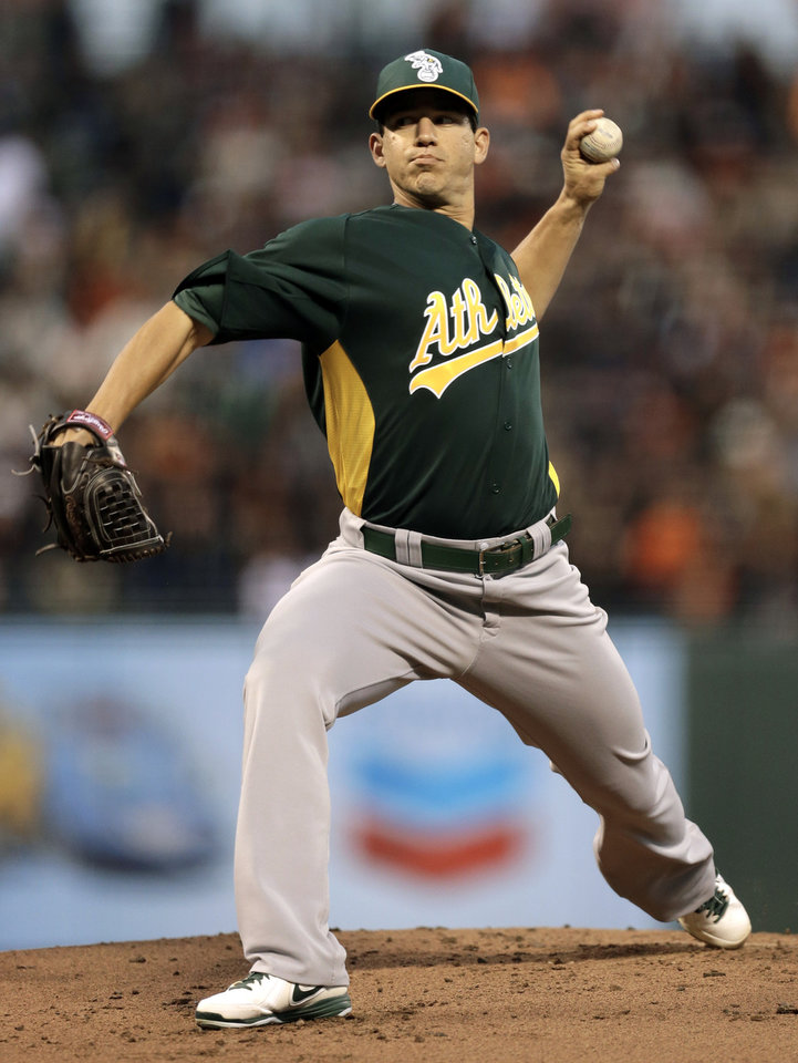 Oakland Athletics' Tommy Milone works against the San Francisco Giants in the first inning of an exhibition spring training baseball game Thursday, March 28, 2013, in San Francisco. (AP Photo/Ben Margot)