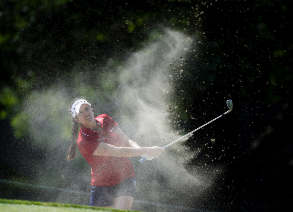 Photo - Gerina Piller hits from a bunker next to the first green during the second round of the Marathon Classic LPGA golf tournament at Highland Meadows Golf Club in Sylvania, Ohio, Friday, July 19, 2013. (AP Photo/Rick Osentoski)