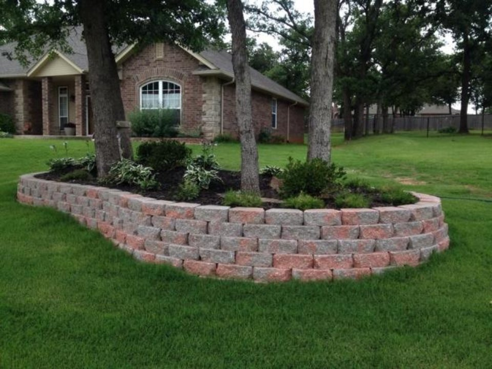 Photo -  Retaining wall by Big Country Lawn & Landscaping, an exhibitor at the Oklahoma City Spring Remodel & Landscape Show. [PHOTO PROVIDED]