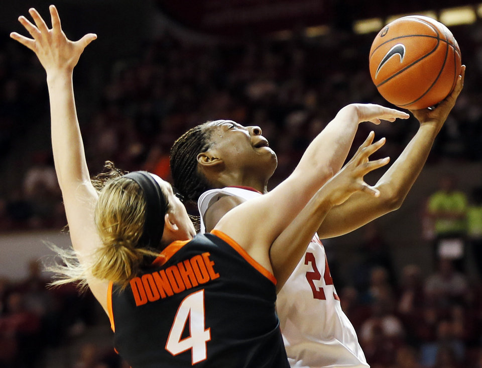 Photo - Oklahoma's Sharane Campbell (24) takes the ball past Liz Donohoe (4) in the second half during a women's Bedlam college basketball game between the Oklahoma State University Cowgirls (OSU) and the University of Oklahoma Sooners (OU) at Lloyd Noble Center in Norman, Okla., Saturday, Feb. 1, 2014. OU won, 81-74. Photo by Nate Billings, The Oklahoman