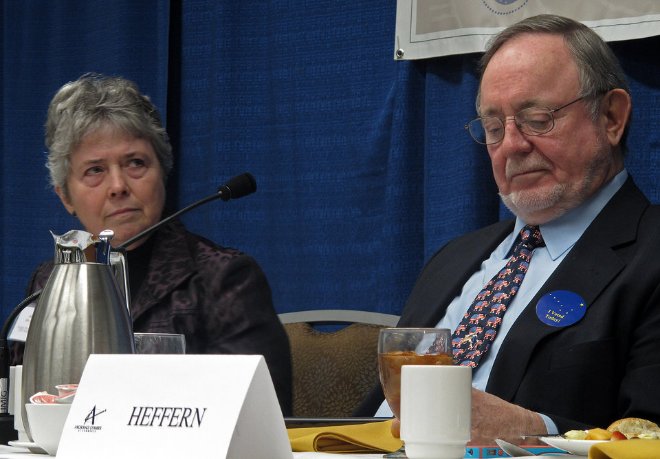 Photo -   Democratic state Rep. Sharon Cissna, left, listens to a question during her debate with U.S. Rep. Don Young on Monday, Nov. 5, 2012, in Anchorage, Alaska. Young, a Republican, is seeking a 21st term as Alaska's lone U.S. House member. Cissna is his Democratic challenger. (AP Photo/Becky Bohrer)
