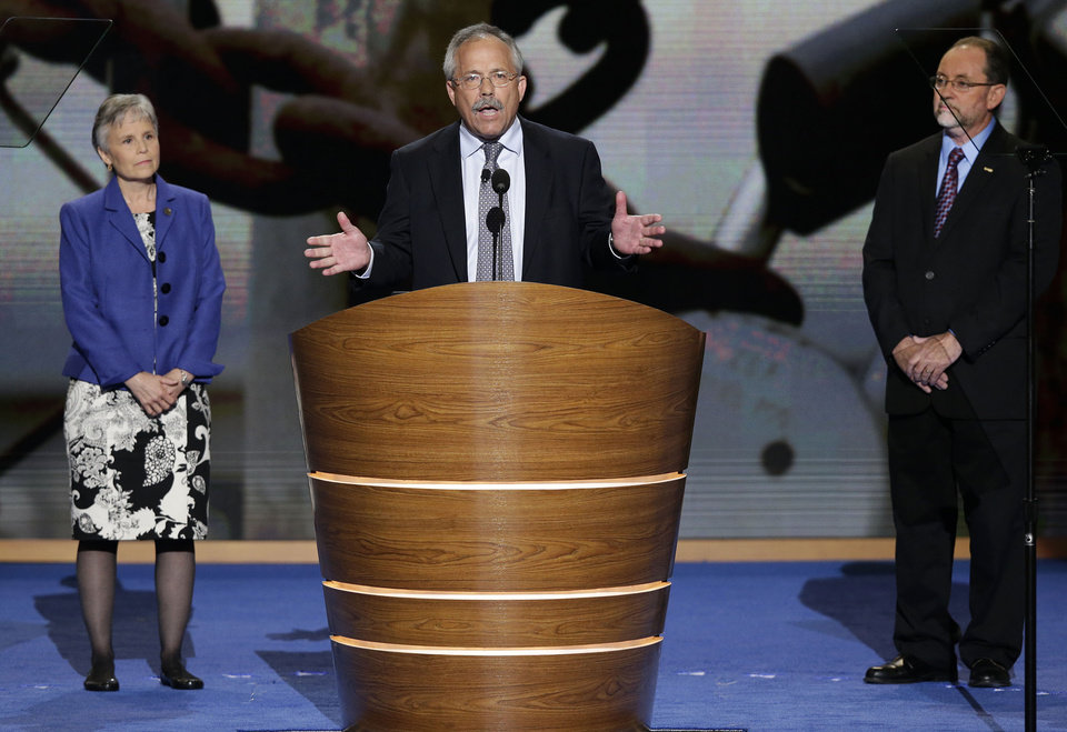 Photo - Cindy Hewitt, David Foster and Randy Johnson address the Democratic National Convention in Charlotte, N.C., on Wednesday, Sept. 5, 2012. (AP Photo/J. Scott Applewhite)  ORG XMIT: DNC167