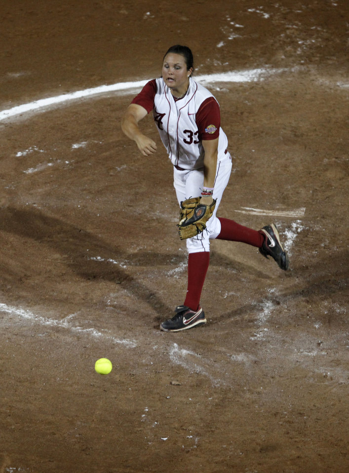 Alabama's Jackie Traina (33) pitches during Game 3 of the Women's College World Series softball championship between OU and Alabama at ASA Hall of Fame Stadium in Oklahoma City, Wednesday, June 6, 2012.  Photo by Garett Fisbeck, The Oklahoman