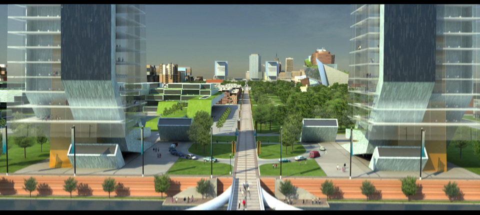 Photo - RENDERING: This conceptual view from a pedestrian bridge on the Oklahoma River looks north along Hudson to the existing downtown skyline. Provided by the Greater Oklahoma City Chamber of Commerce ORG XMIT: KOD