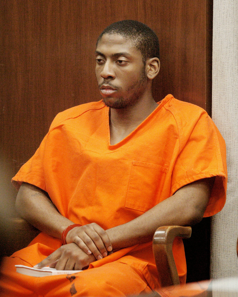 Brodric Lontae Glover sits Wednesday in the courtroom for his preliminary hearing at the Oklahoma County Courthouse in Oklahoma City. Photo by Paul B. Southerland, The Oklahoman <strong>PAUL B. SOUTHERLAND</strong>