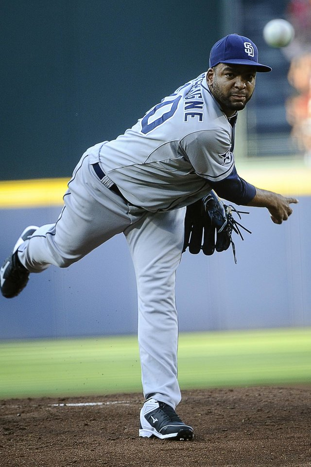 Photo - San Diego Padres pitcher Odrisamer Despaigne works the first inning of a baseball game against the Atlanta Braves, Saturday, July 26, 2014, in Atlanta. (AP Photo/John Amis)
