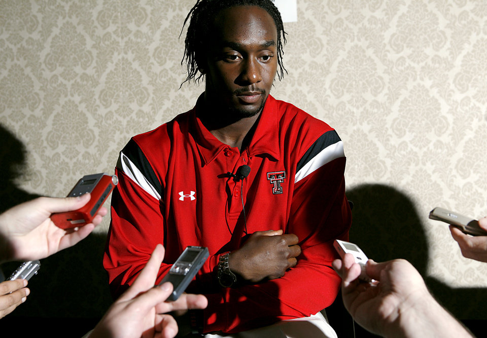 Photo - COLLEGE FOOTBALL: Texas Tech University player Jamar Wall listens to question from the media during the 2008 Big 12 Conference Football Media Days at the Kansas City Marriott Downtown in Kansas City, Mo., on Monday July 21, 2008. By John Clanton, The Oklahoman ORG XMIT: KOD