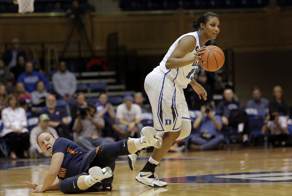 Photo - Duke's Richa Jackson dribbles the ball ahead of  Virginia's Kelsey Wolfe, left, during the second half of an NCAA women's college basketball game, Thursday, Jan. 16, 2014, in Durham, N.C. Duke won 90-55.  (AP Photo/Ted Richardson)