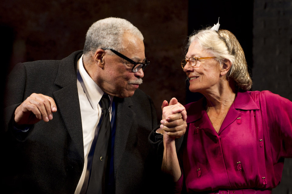Photo - FILE - In this Oct. 25, 2010 file photo, James Earl Jones, left, and Vanessa Redgrave appear at the curtain call for the opening night of