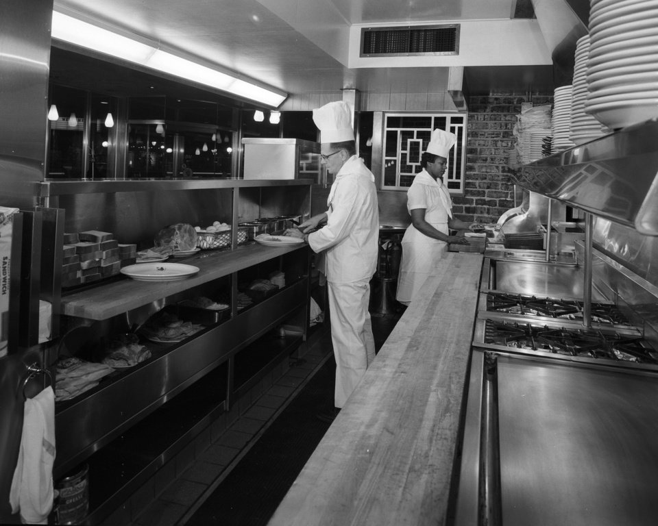 Photo -  A historic photo shows the kitchen of the downtown Beverly's restaurant.  Photo provided by The Oklahoma History Center