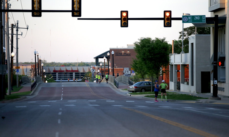Photo - The Walnut Street bridge on the route of the Oklahoma City Memorial Marathon is pictured in Oklahoma City,  Sunday, April 26, 2020.  The 20th Oklahoma City Memorial Marathon was delayed until October because of Covid-19. [Sarah Phipps/The Oklahoman]