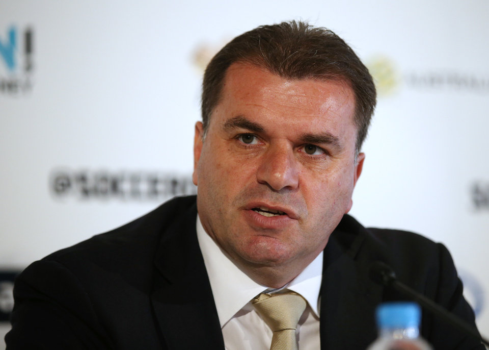 Photo - Australia's soccer coach Ange Postecoglou speaks to the media after announcing the 30-man World Cup squad in Sydney, Australia Wednesday, May 14, 2014. Australia faces defending champion Spain, 2010 runner-up Netherlands and Chile in a tough group in Brazil. (AP Photo/Rick Rycroft)