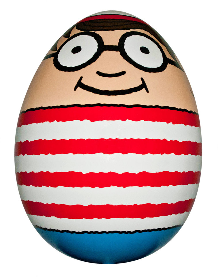 "Photo - This undated image provided by HL Group shows an egg designed by Martin Handford, the creator of ""Where's Waldo."" The egg will be among 275 eggs hidden around New York City April 1-17, 2014. The public will be invited to find the over 2 feet tall eggs as part of an interactive contest called The Faberge Big Egg Hunt. (AP Photo/HL Group, Maverick Inman)"