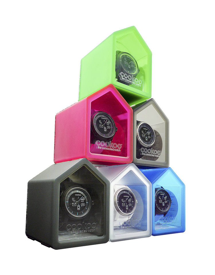 Photo - A new smart watch, the COOKOO, comes packaged in birdhouse boxes, ready to connect your mobile device to the watch. PHOTO PROVIDED.