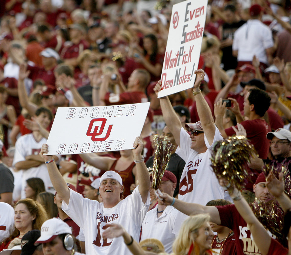 OU fans cheer prior to a college football game between the University of Oklahoma (OU) and Florida State (FSU) at Doak Campbell Stadium in Tallahassee, Fla., Saturday, Sept. 17, 2011. Photo by Bryan Terry, The Oklahoman
