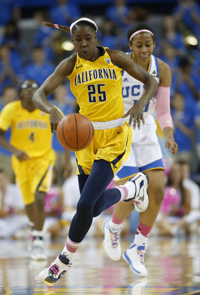 Photo - California forward Gennifer Brandon (25) makes her way downcourt past UCLA forward Kacy Swain during the first half of an NCAA college basketball game in Los Angeles, Friday, Feb. 15, 2013. (AP Photo/Jae C. Hong)