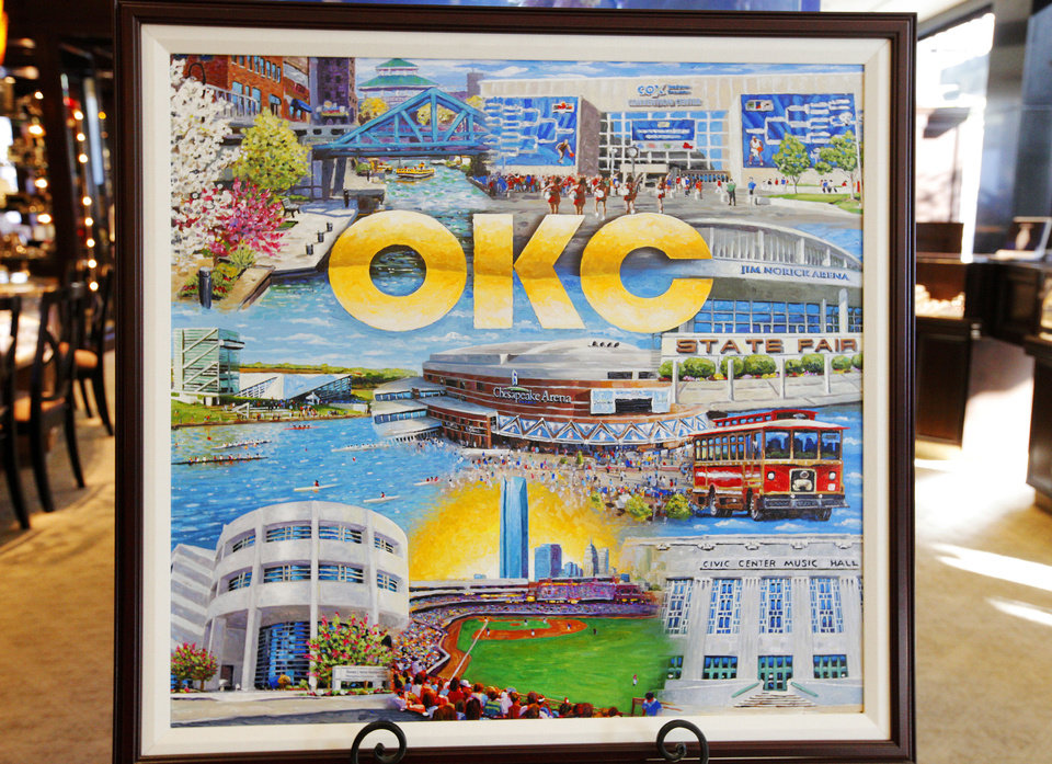 Photo - A rendering of the 2013 Oklahoma City Christmas ornament celebrating the MAPS program is on display after its unveiling at BC Clark Jewelers in downtown Oklahoma City. Photo by Paul B. Southerland, The Oklahoman  PAUL B. SOUTHERLAND