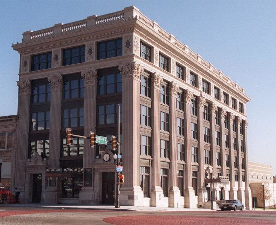 The former historic Daily Oklahoman Building, now the E.K. Gaylord downtown YMCA at 4th & Broadway.