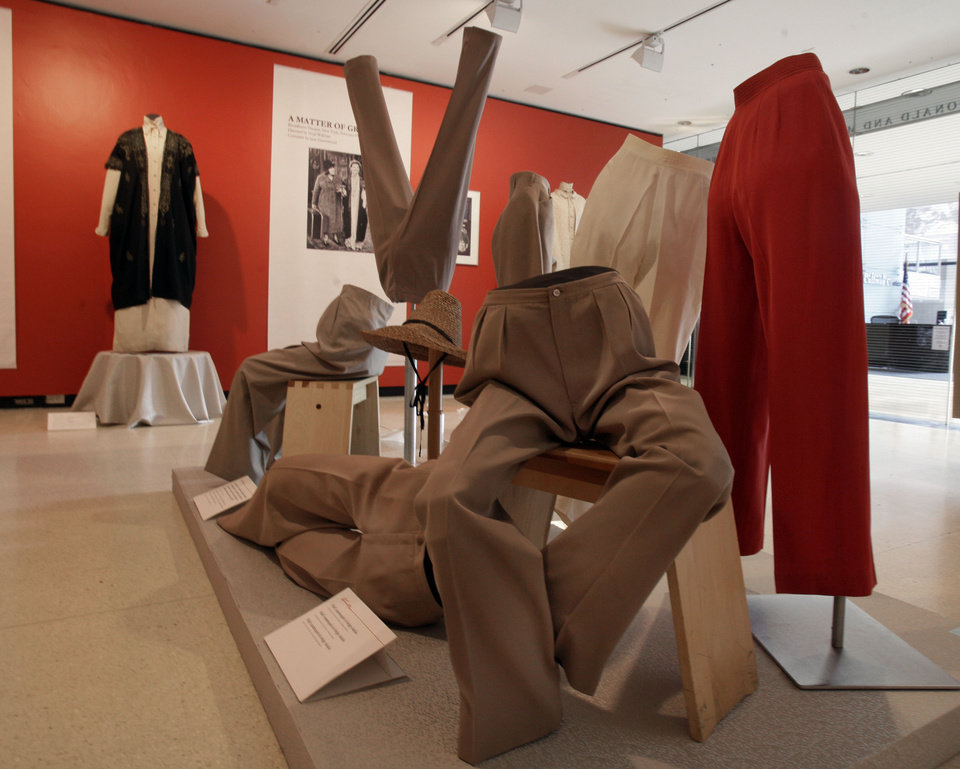 Photo -   A display of slacks and jodhpurs is shown as part of the