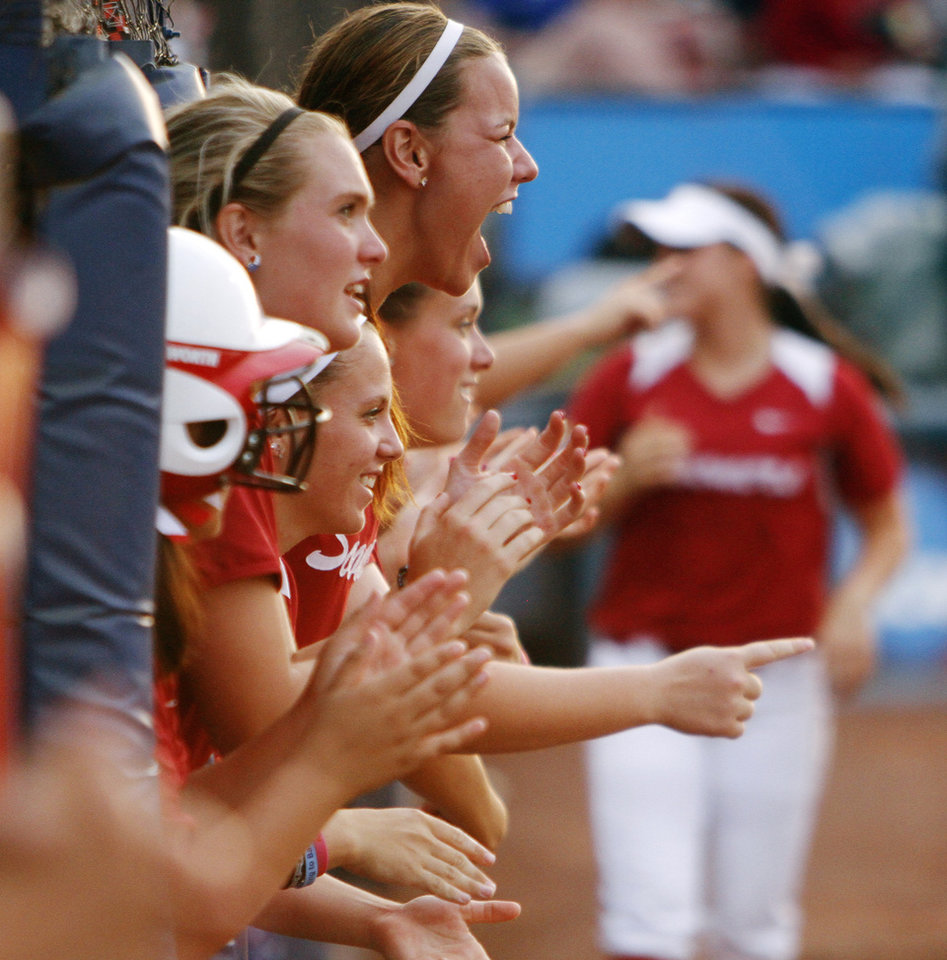 Oklahoma designated player Keilani Ricketts celebrates after a hit by the Sooners in the WCWS Finals second game as Oklahoma went on to defeated Tennessee 4-0 on June 4, 2013 to win the NCAA championship. Photo by KT KING, The Oklahoman