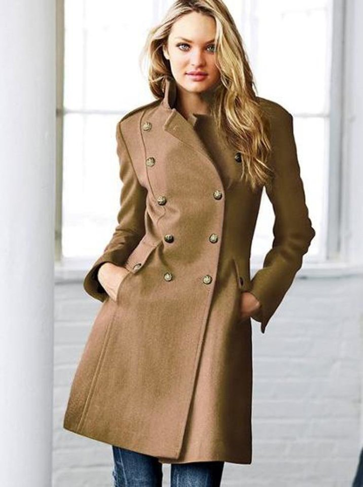 "Get the ""Bond Girl"" look of actress Berenice Marlohe with a trench such as this wool military coat ($188 at Victoria's Secret). (Victoria's Secret/Los Angeles Times/MCT)"