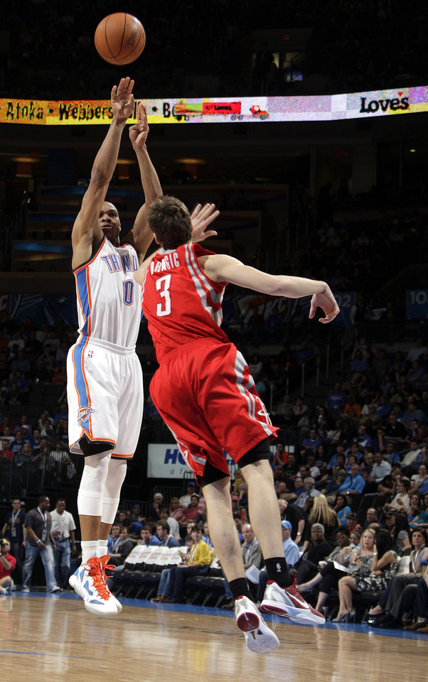 Photo - during the NBA basketball game between the Oklahoma City Thunder and the Houston Rockets at the Chesapeake Energy Arena, Tuesday, March 13, 2012. Photo by Sarah Phipps, The Oklahoman.