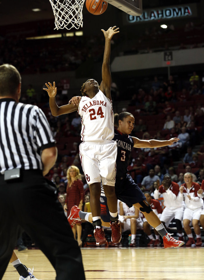 Photo - Gonzaga's Haiden Palmer (3) is called for a flagrant foul on Oklahoma Sooner's Sharane Campbell (24) in the second half as the University of Oklahoma Sooners (OU) defeat the Gonzaga Bulldogs 82-78 in NCAA, women's college basketball at The Lloyd Noble Center on Thursday, Nov. 14, 2013  in Norman, Okla. Photo by Steve Sisney, The Oklahoman