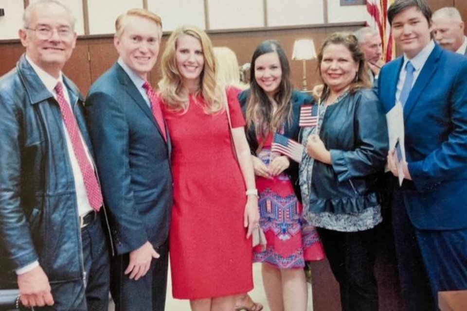 Photo -  Luis Garcia Buchard, left, is shown in this photo with U.S. Sen. James Lankford; Lankford's wife Cindy; Buchard's daughter Zoe Garcia-Schlett; Buchard's wife Elvia Escoto-Garcia; and Buchard's son Felipe Garcia at the May 2019 naturalization ceremony for the latter three. Buchard became a citizen at a separate ceremony in August 2019. [Photo provided]