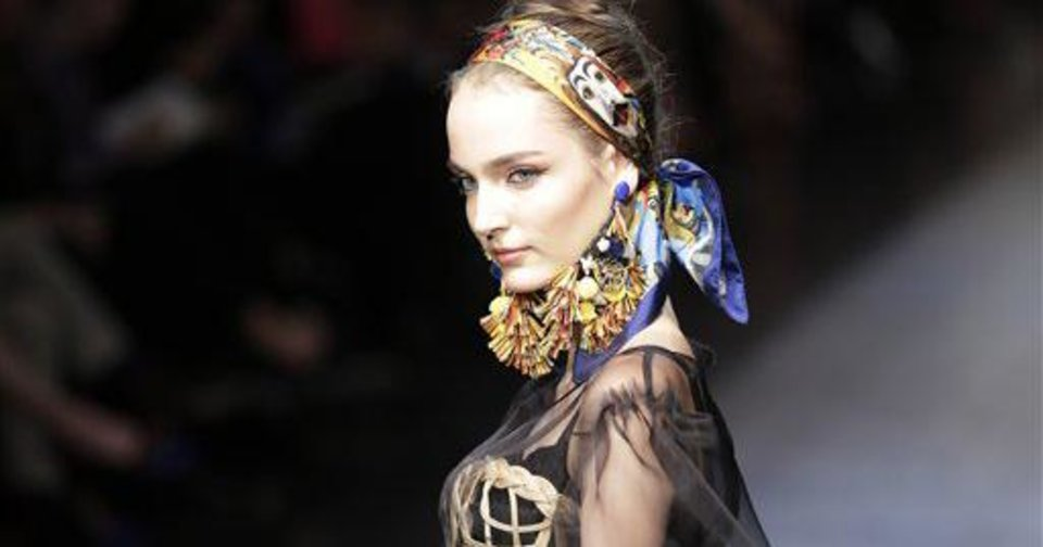 A model wears a creation part of the Dolce & Gabbana women's Fall-Winter 2012-13 fashion collection, during the fashion week in Milan, Italy, Sunday, Feb. 26, 2012. (AP Photo/Antonio Calanni)