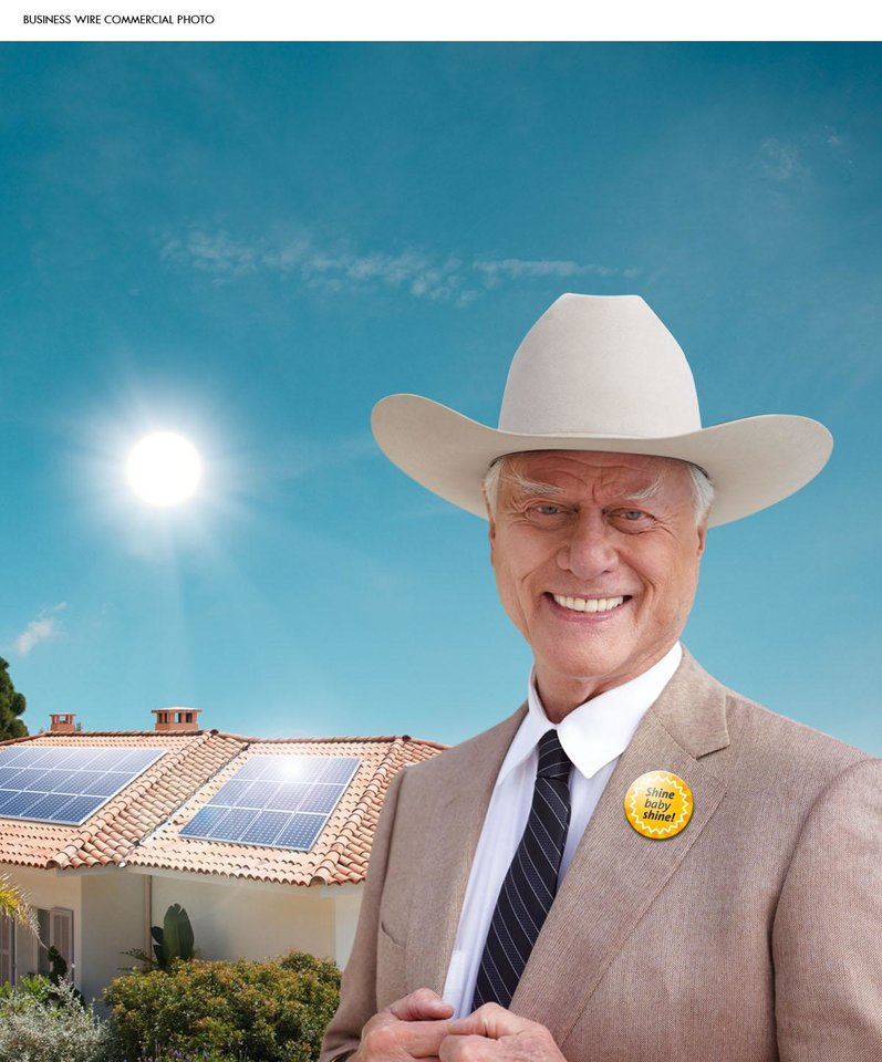 "Larry Hagman wears a ""Shine, baby, shine!"" button and his trademark cowboy hat as he stars in an advertising campaign that SolarWorld launched Tuesday, July 13, upon the opening of the Intersolar trade show in San Francisco. (Photo: Business Wire) ORG XMIT: BW18"
