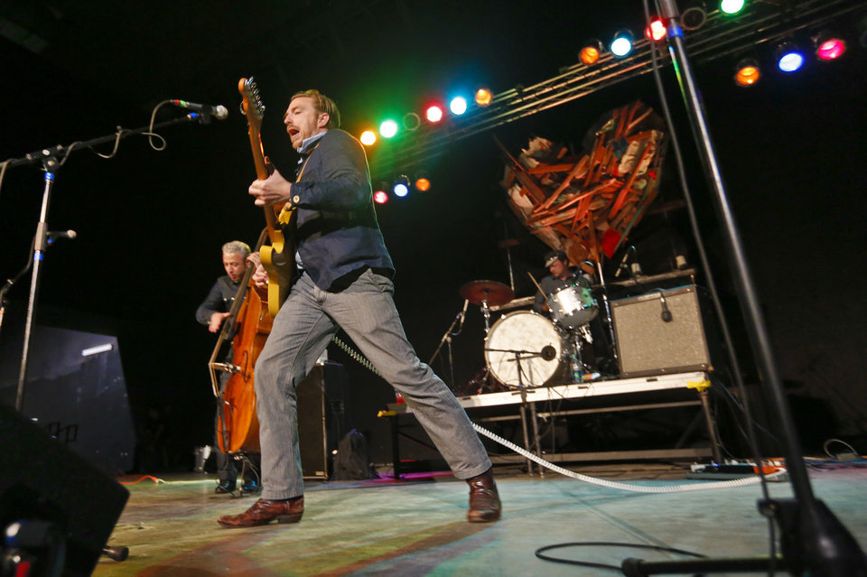 Photo -  TORNADO DAMAGE / TORNADO AFTERMATH / CLEANUP : JD McPherson performs during the 'Music4Moore' benefit concert at the Chevy Bricktown Events Center on Wednesday, May 29, 2013 in Oklahoma City, Okla. The concert was held to benefit those effected by the recent tornados that hit the state. Photo by Chris Landsberger, The Oklahoman