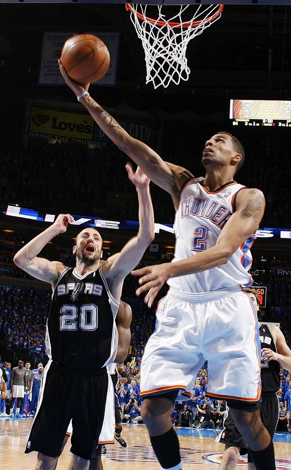 Photo - Oklahoma City's Thabo Sefolosha (2) shoots in front of San Antonio's Manu Ginobili (20) during Game 3 of the Western Conference Finals between the Oklahoma City Thunder and the San Antonio Spurs in the NBA playoffs at the Chesapeake Energy Arena in Oklahoma City, Thursday, May 31, 2012. Oklahoma City won, 102-82. Photo by Nate Billings, The Oklahoman